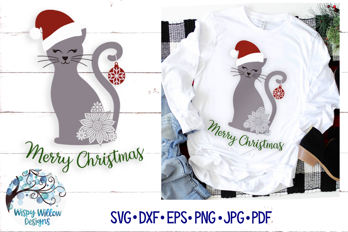 Merry Christmas Cat SVG | Christmas SVG Cut File example image 1