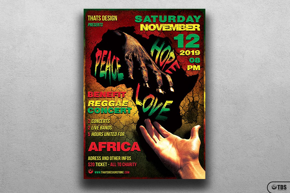 Reggae Africa United Flyer Template  example image 1