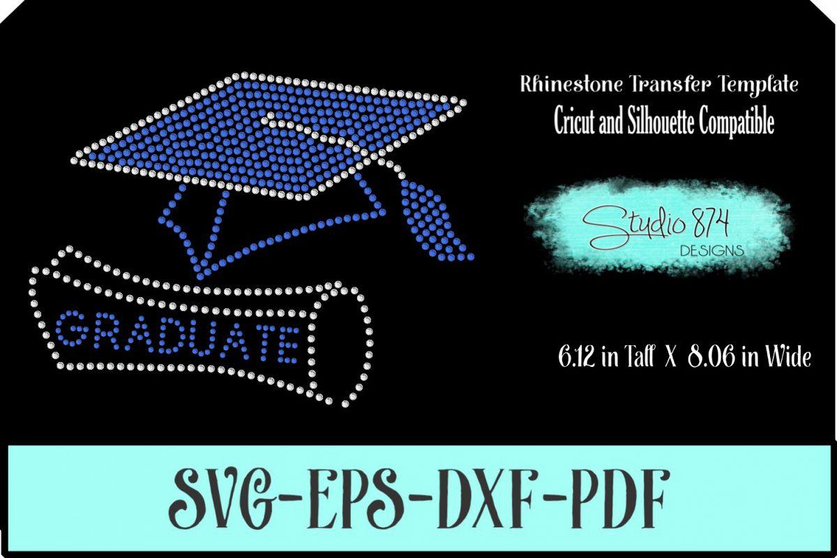 Graduate - Grad Cap Rhinestone SVG Template R1 example image 1