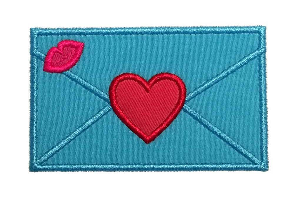 Envelope with heart machine embroidery applique design