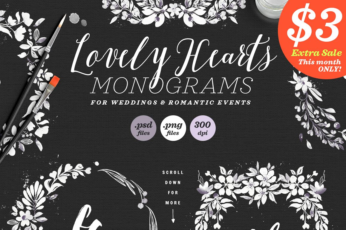 Lovely Hearts Monograms V example image 1