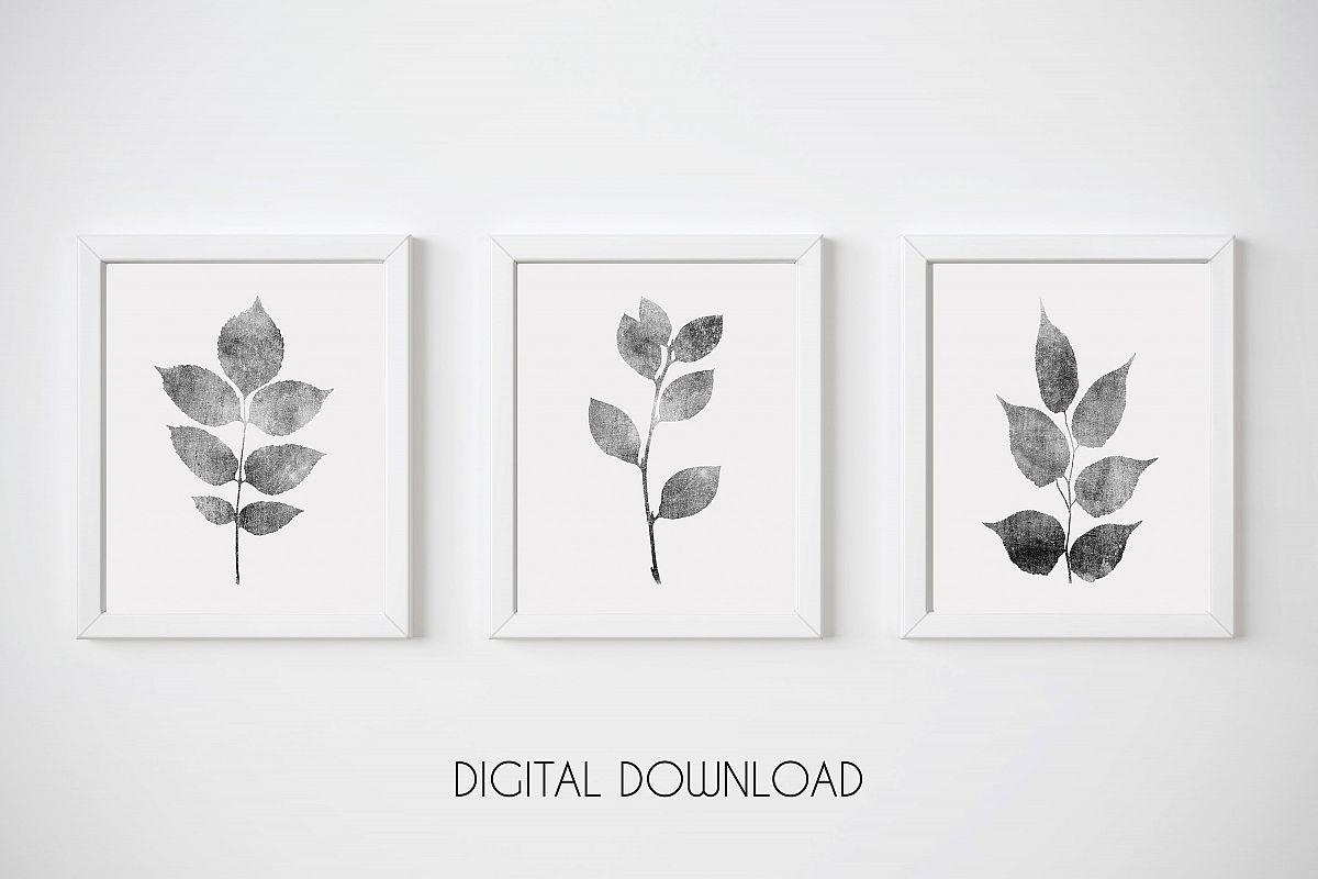 Gray Leaf Print, Botanical Print Set of 3, Gray Wall Art Set example image 1