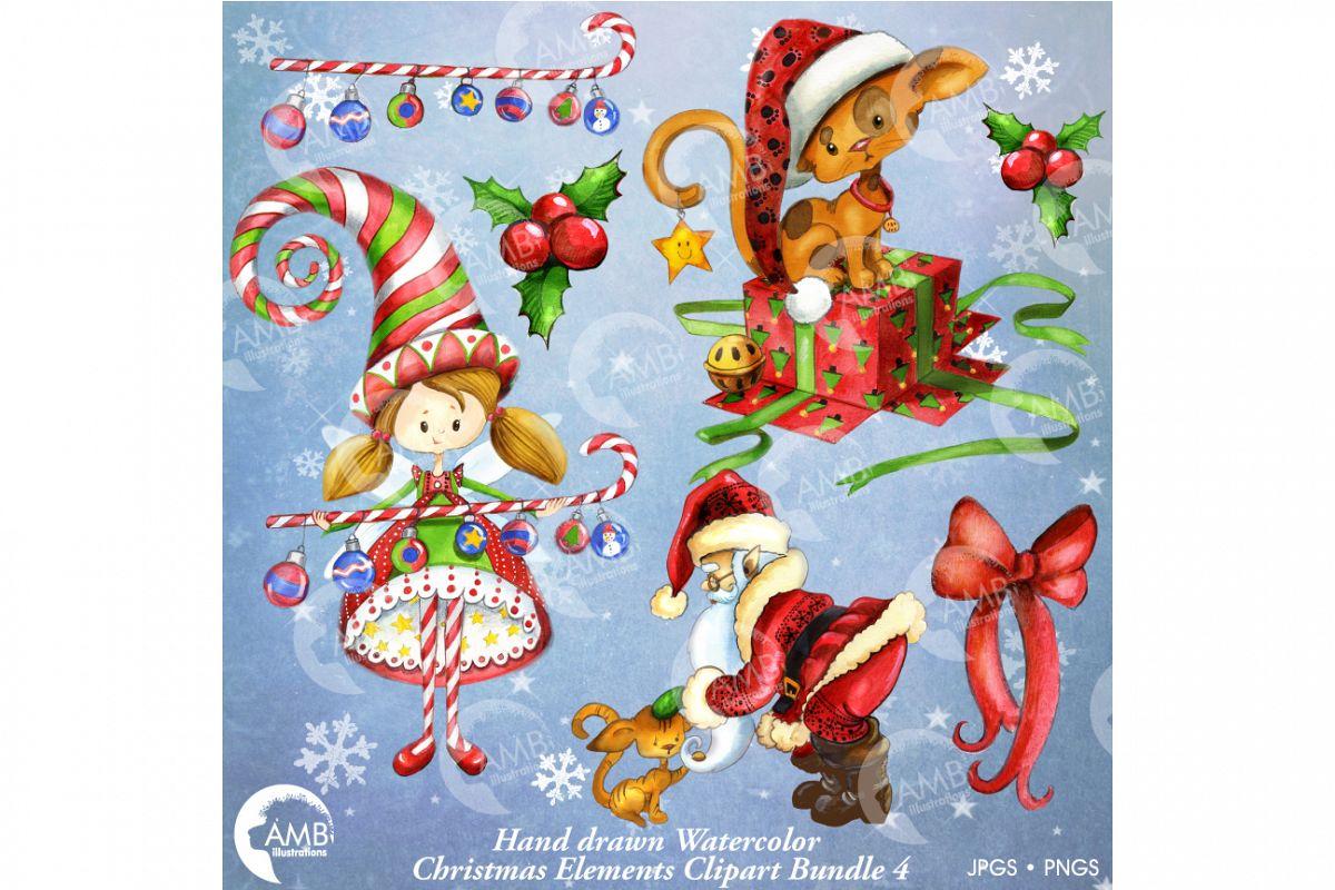 Christmas Watercolor Handrawn clipart bundle 2-AMB-1474 example image 1