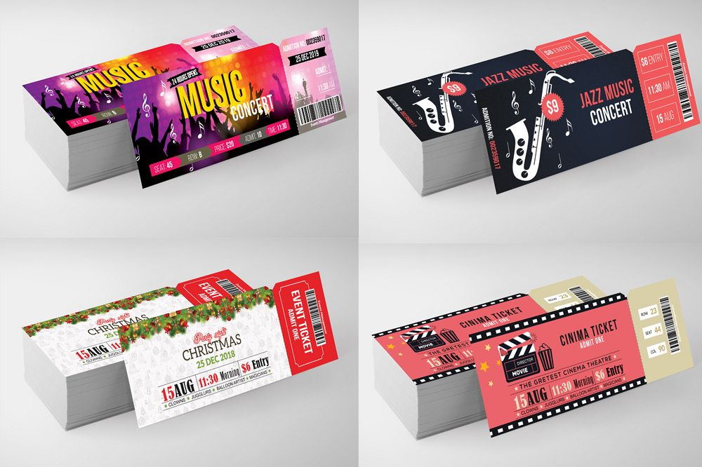 4 Event Party Tickets Bundle example image 1