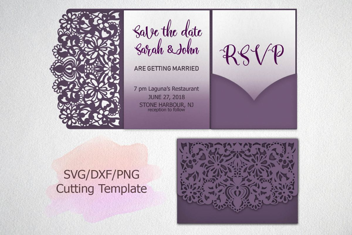 Tri Fold Wedding Invitation Lace Pocket Envelope Svg Dxf Cut