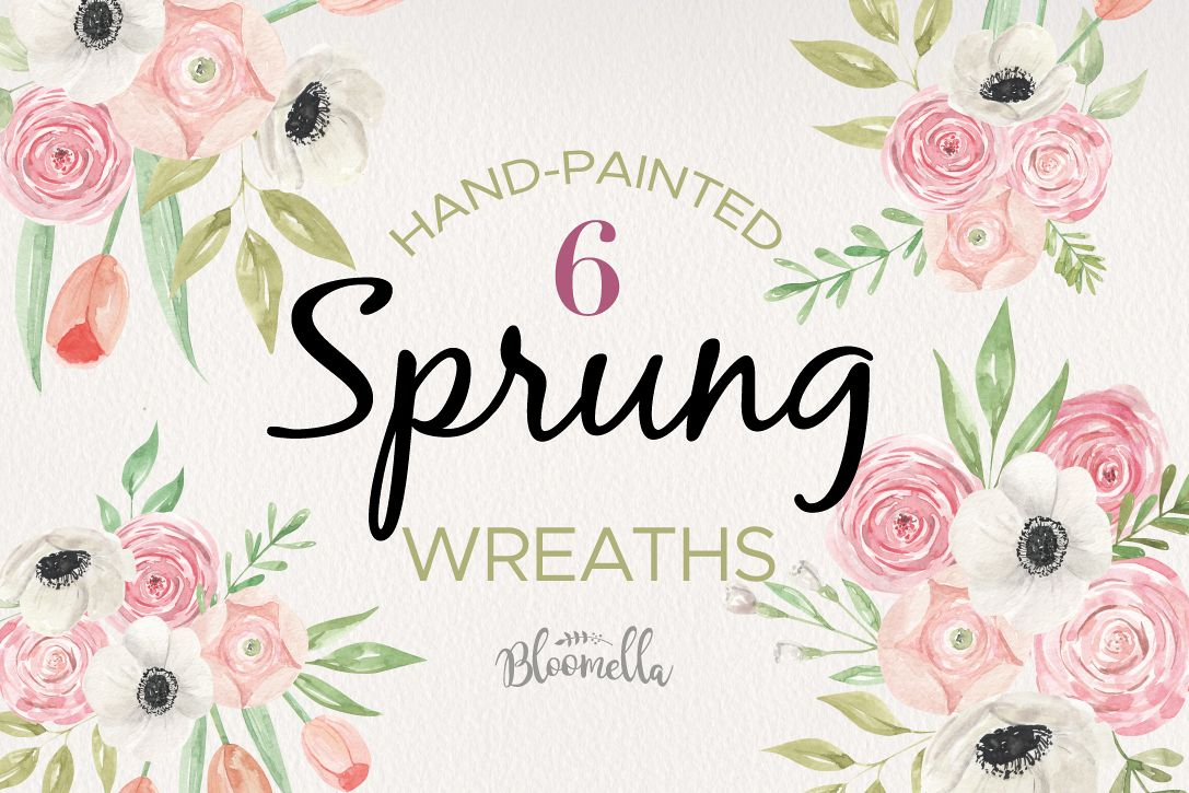 Sprung Floral 6 Bouquets Watercolor Elegant Spring Tulips example image 1