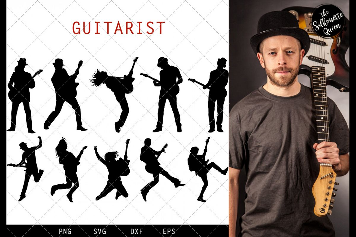 Guitar Player svg file, musician svg cut file example image 1