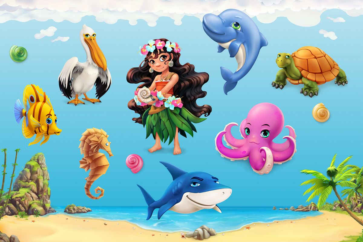 Cute little girl, sea animals, beach background, game icons example image 1