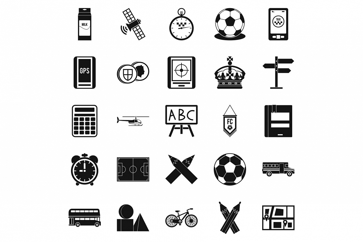 Motorbus icons set, simple style example image 1
