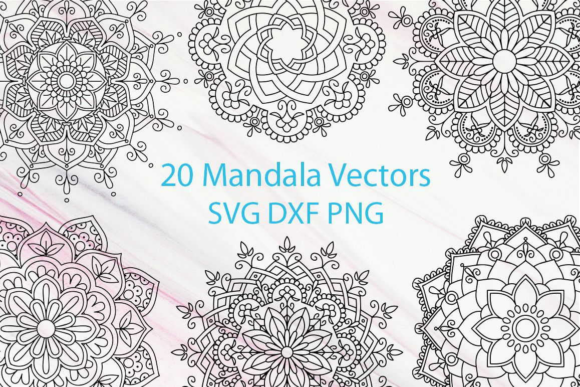 20 Mandala Vectors SVG DXF PNG - For Crafters example image 1