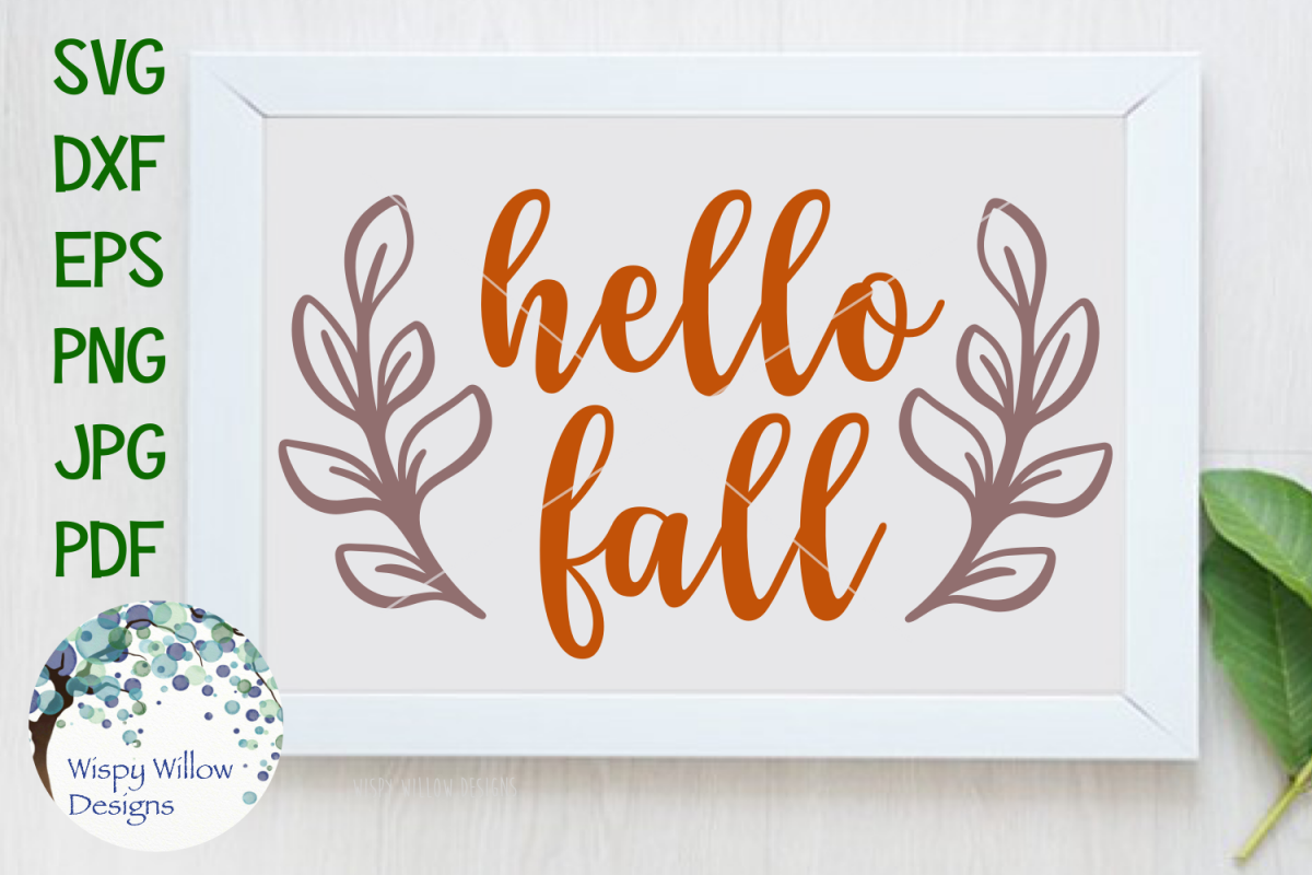 Hello Fall   Wood Sign SVG Cut File example image 1