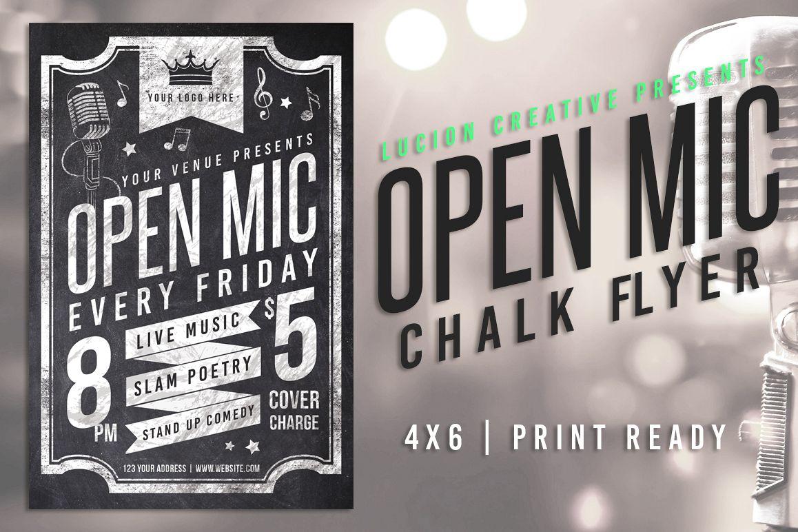 Chalk Open Mic Night Flyer example image 1