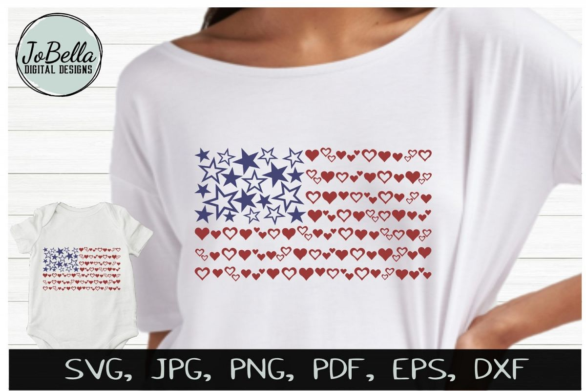 Hearts & Stars American Flag SVG & July 4th Sublimation PNG example image 1