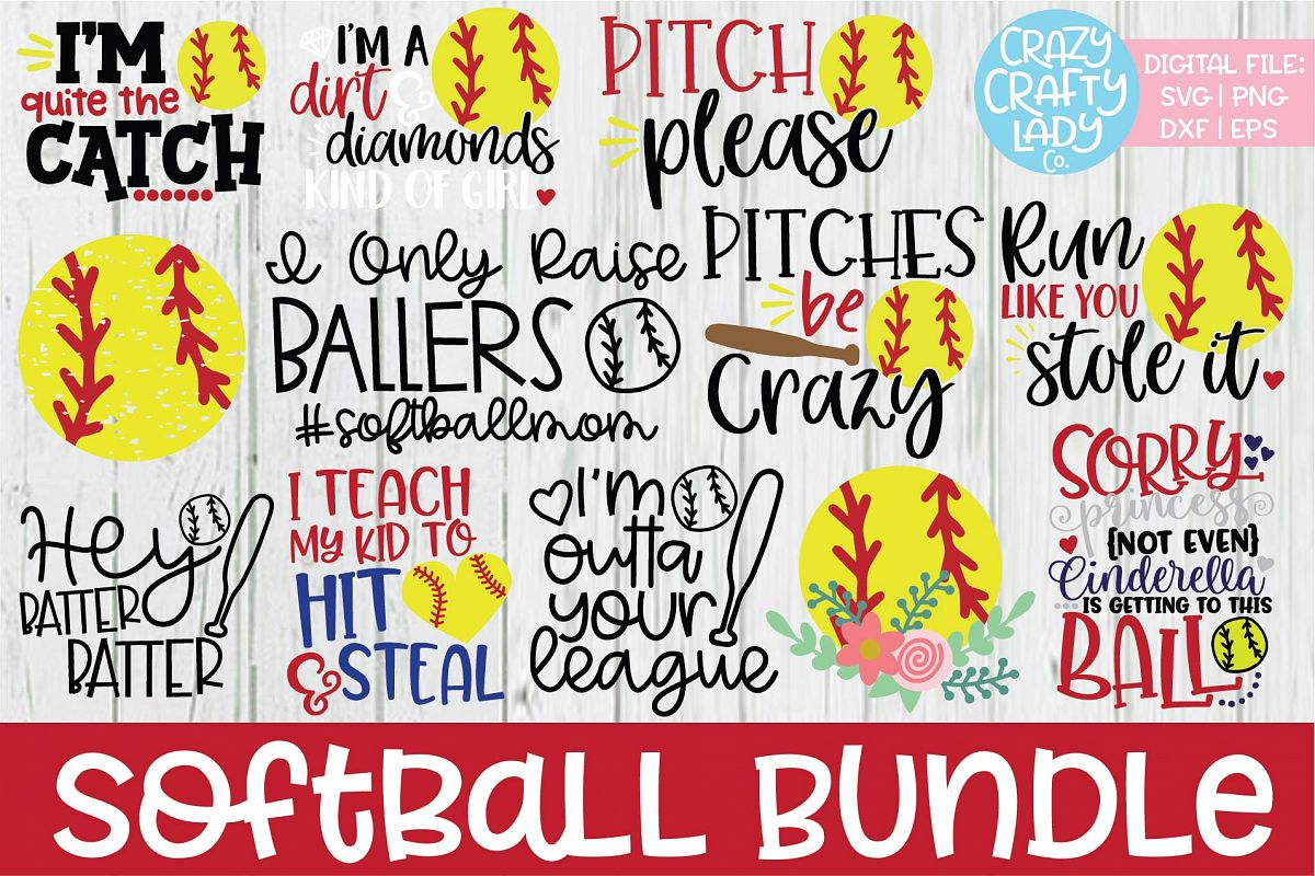 Softball SVG DXF EPS PNG Cut File Bundle example image 1