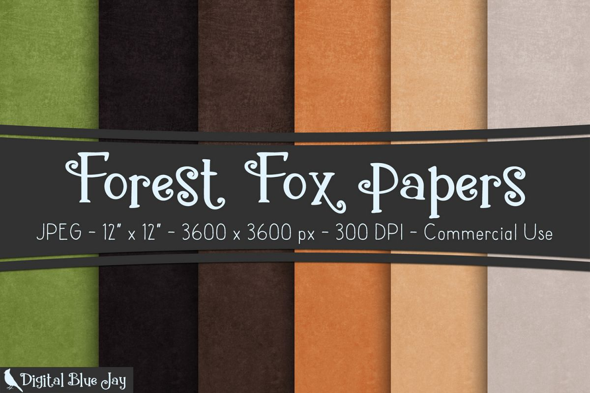 Digital Paper Textured Backgrounds - Forest Fox example image 1