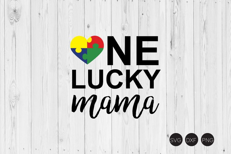 One Lucky Mama SVG, Autism Mom SVG example image 1