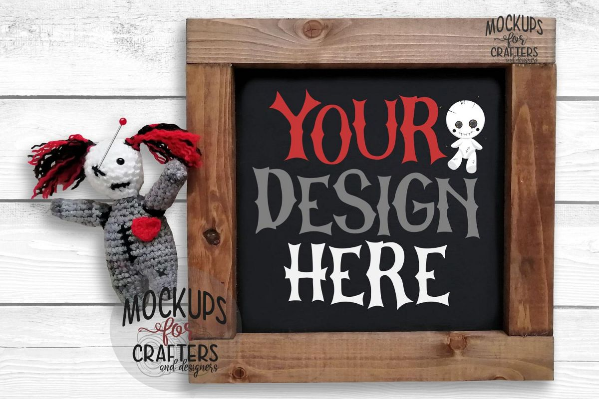 Wood Sign Mock-Up - square - Voodoo / Gothic theme example image 1