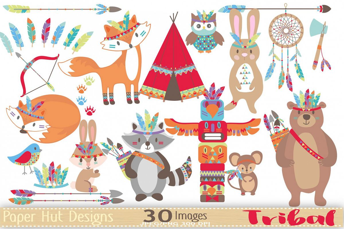 Tribal Woodland Animals Clipart example image 1