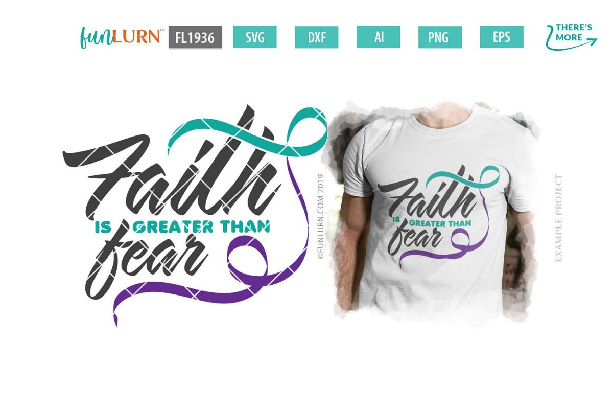 Faith is Greater Than Fear Teal and Purple Ribbon SVG example image 1
