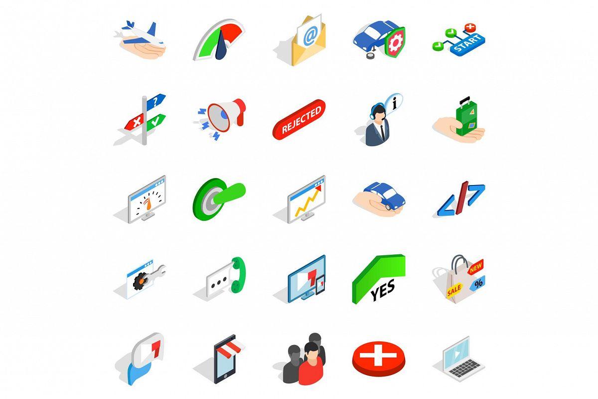 Manpower icons set, isometric style example image 1