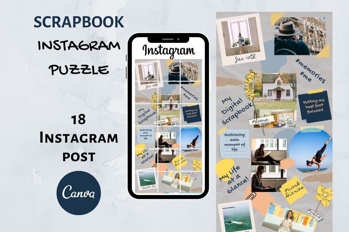 Instagram Puzzle Template Canva- My Scrapbook example image 1
