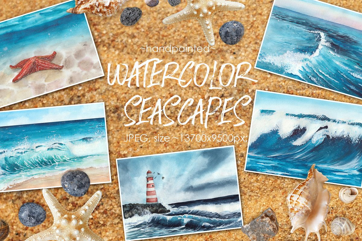 Watercolor seascapes example image 1