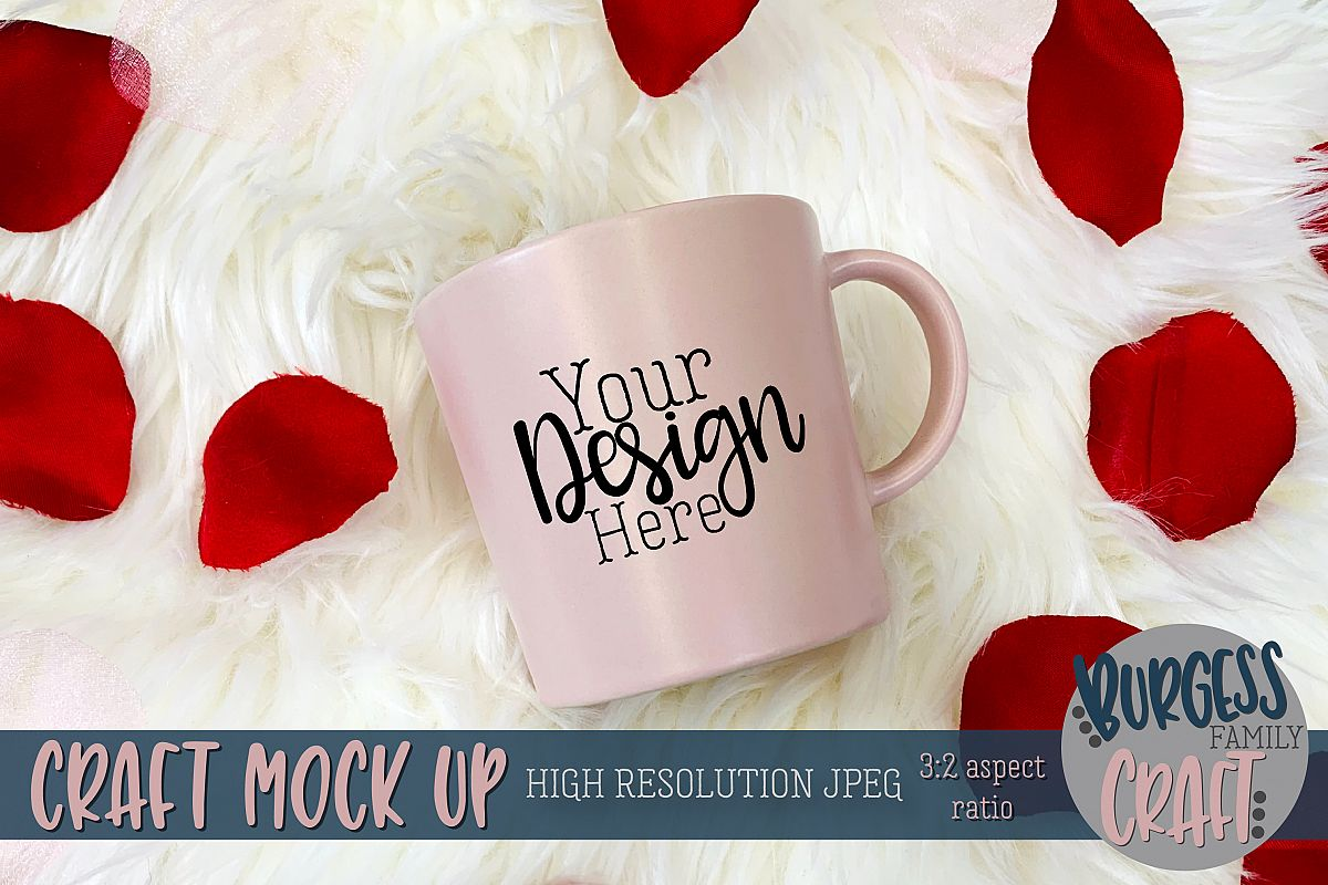 Valentine pink mug Craft mock up example image 1