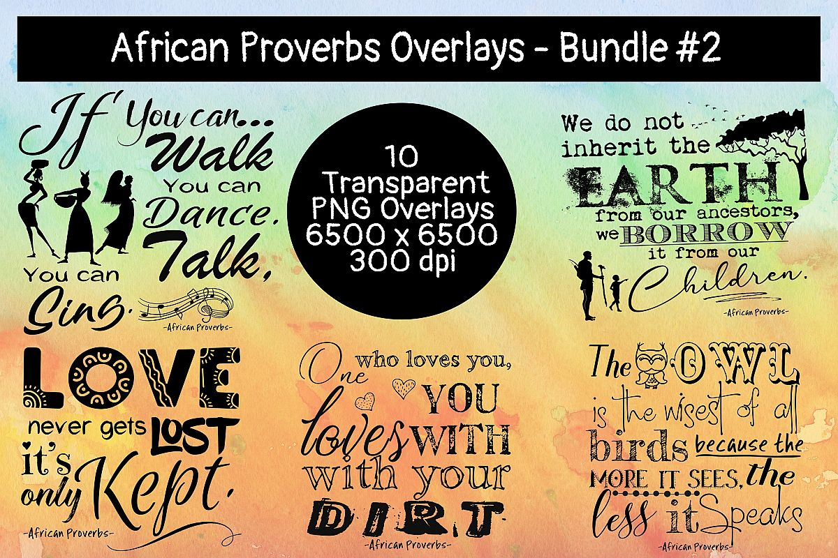 African Proverbs Overlays Bundle #2 example image 1