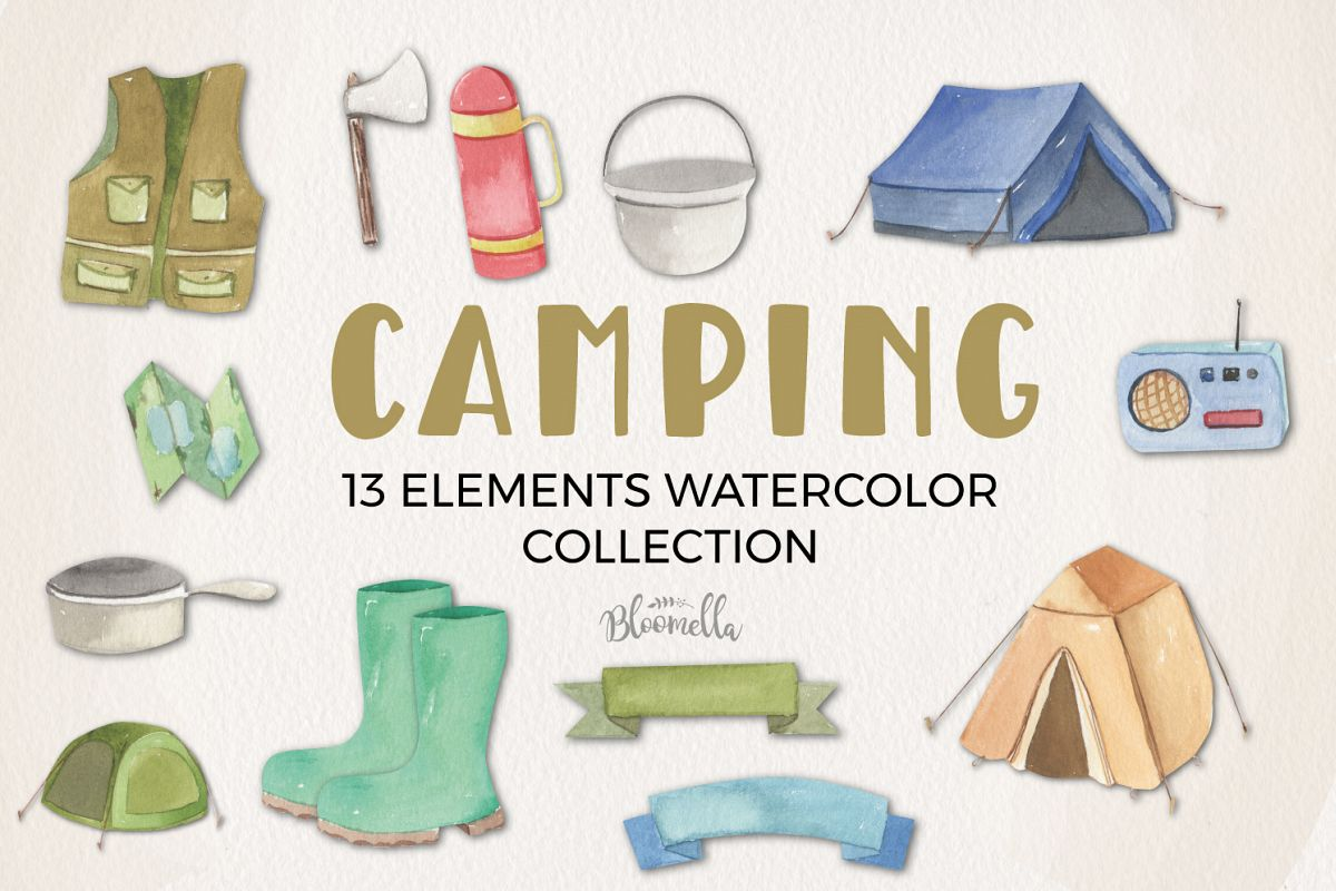 Camping Watercolor Elements example image 1