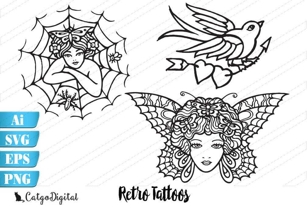 Retro Tattoos SVG EPS Ai PNG example image 1
