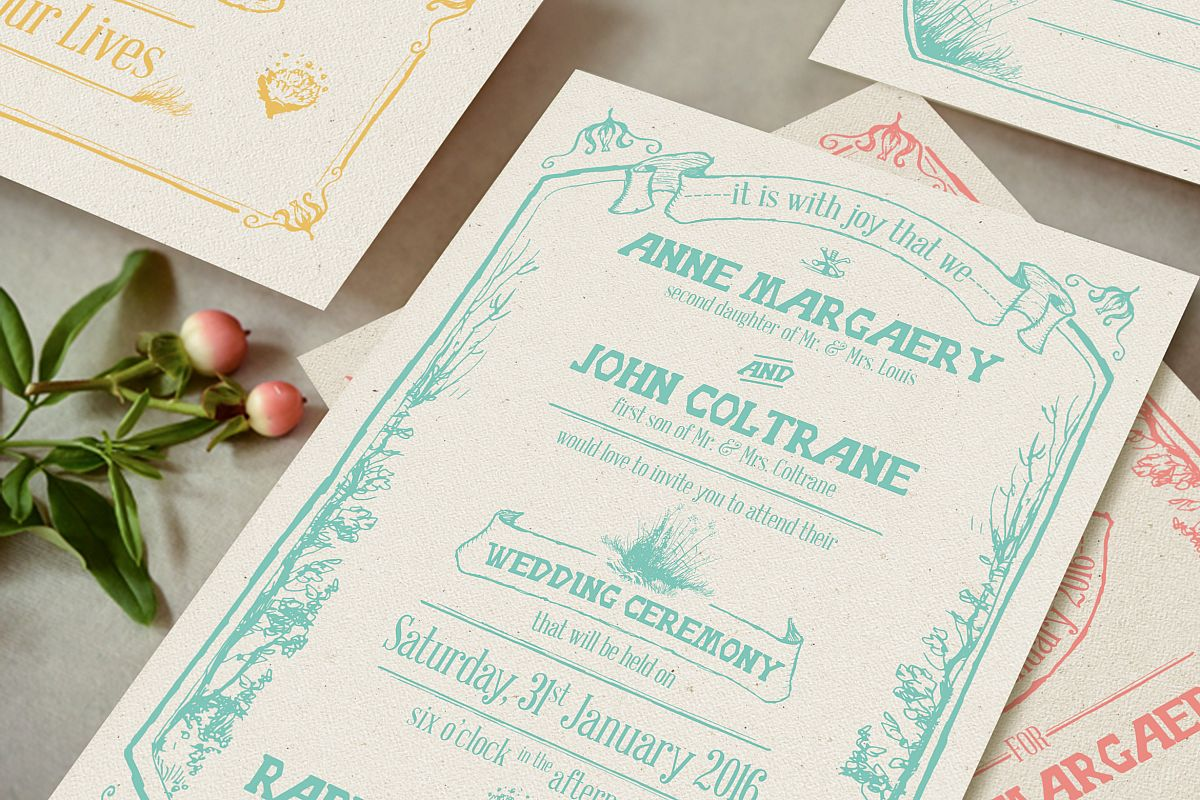 Whimsical Forest Wedding Invitation Suite example image 1