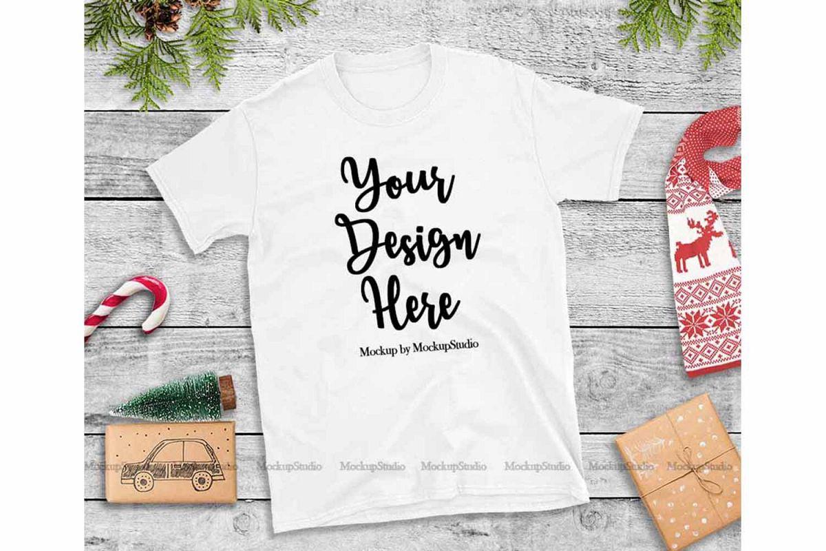 White Christmas Tshirt Mockup Flat Lay Holiday Shirt Display example image 1
