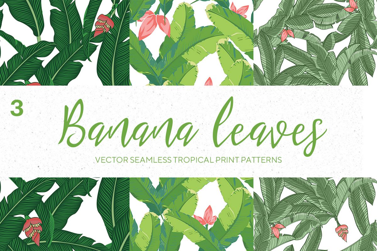 Vector Banana Leaves Seamless Pattern example image 1