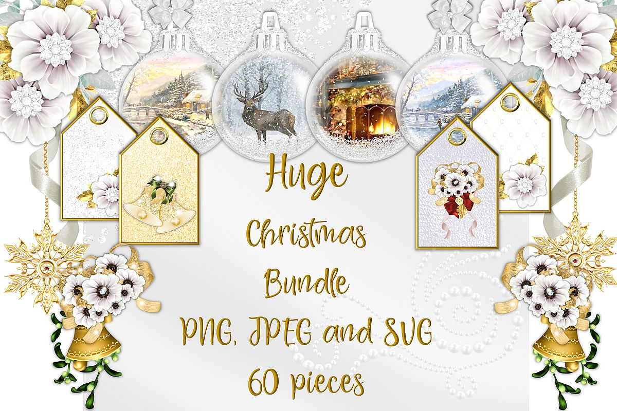 Christmas Clipart Bundle Commercial Use with FREE card kit example image 1
