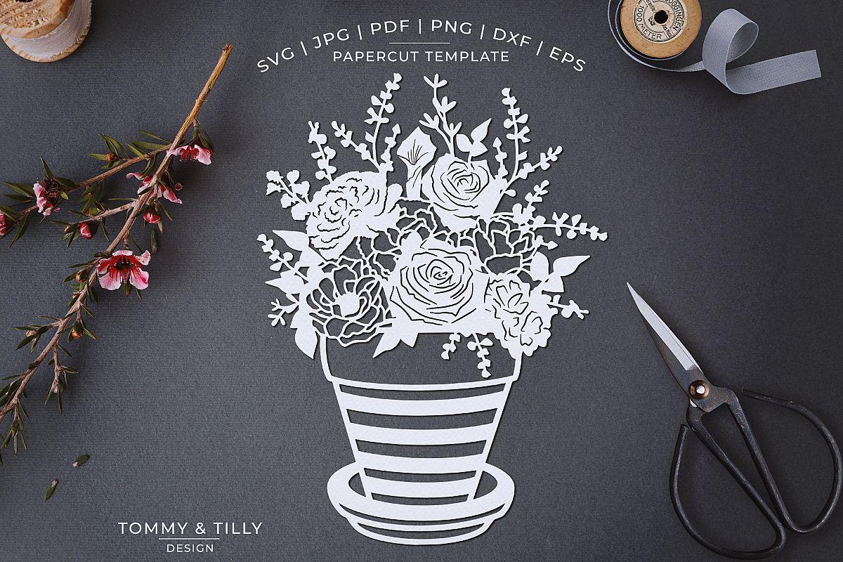 Romantic Floral Plant Pot - Papercut Template SVG JPG PNG example image 1