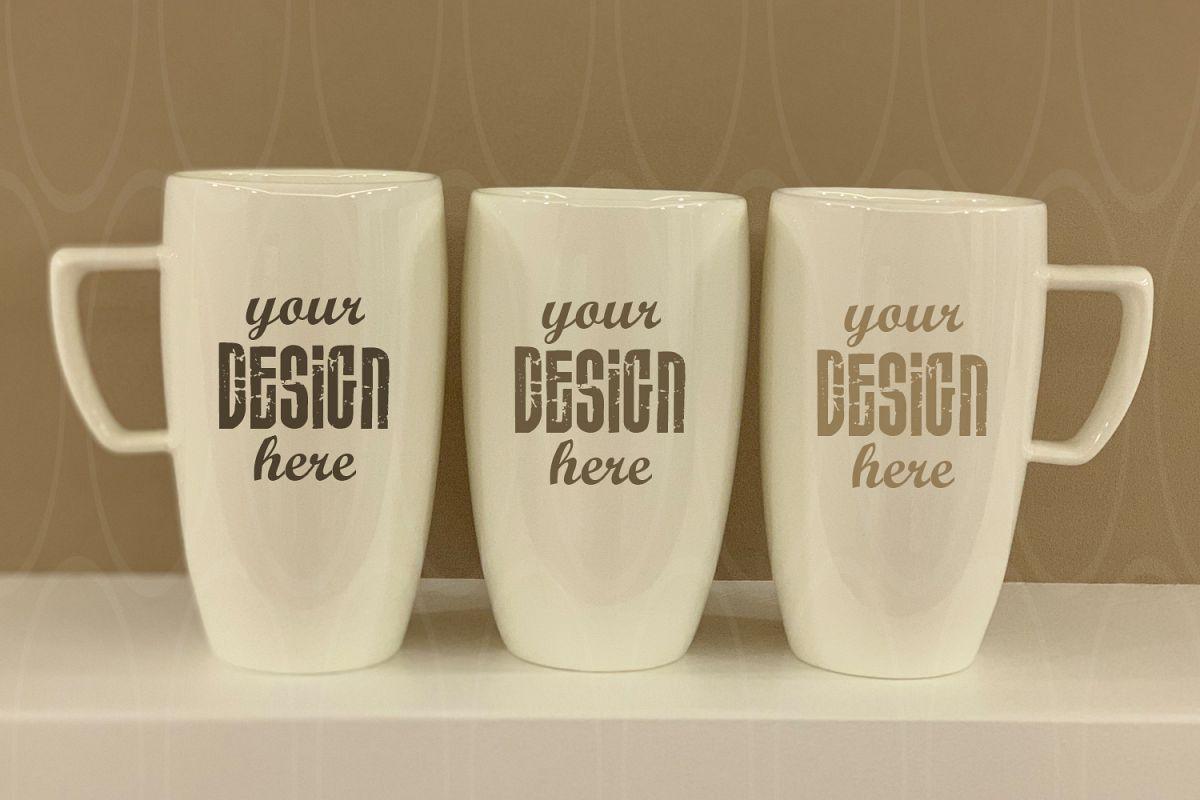 Blank Three White Coffee Glass mockup example image 1