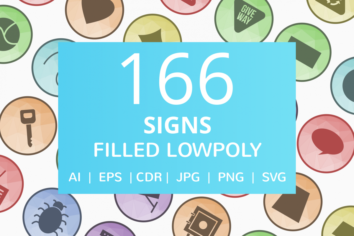 166 Sign Filled Low Poly Icons example image 1