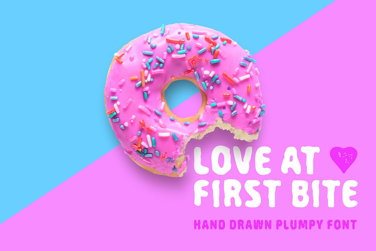 Love At First Bite - handcrafted sans serif font example image 1