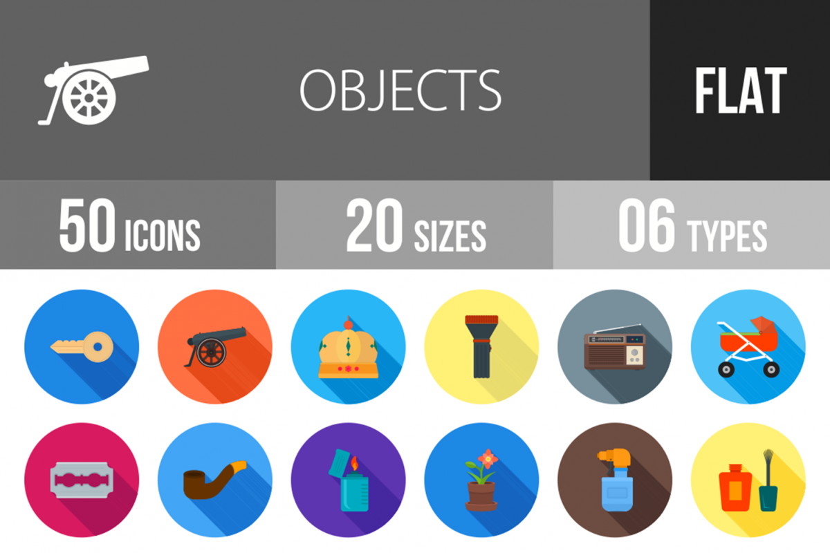 50 Objects Flat Long Shadow Icons example image 1