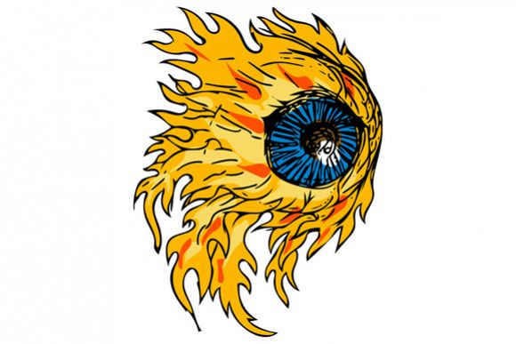 Flaming Eyeball On Fire Drawing example image 1