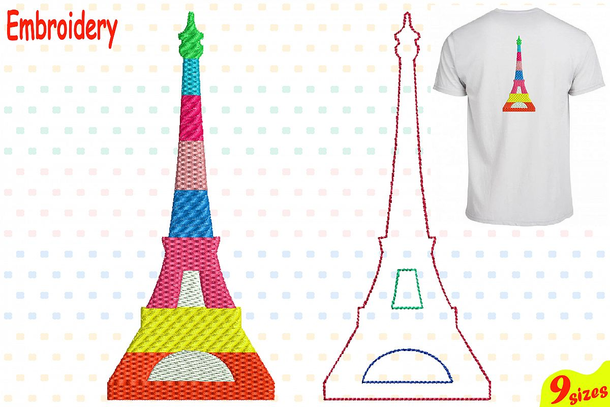 Paris Eiffel Tower Embroidery Design Machine Instant Download