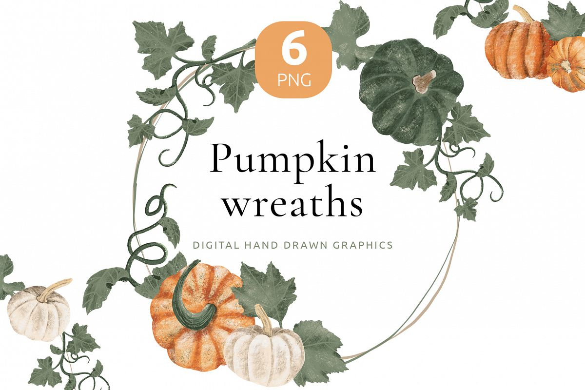 Hand drawn pumpkin frames and wreaths example image 1