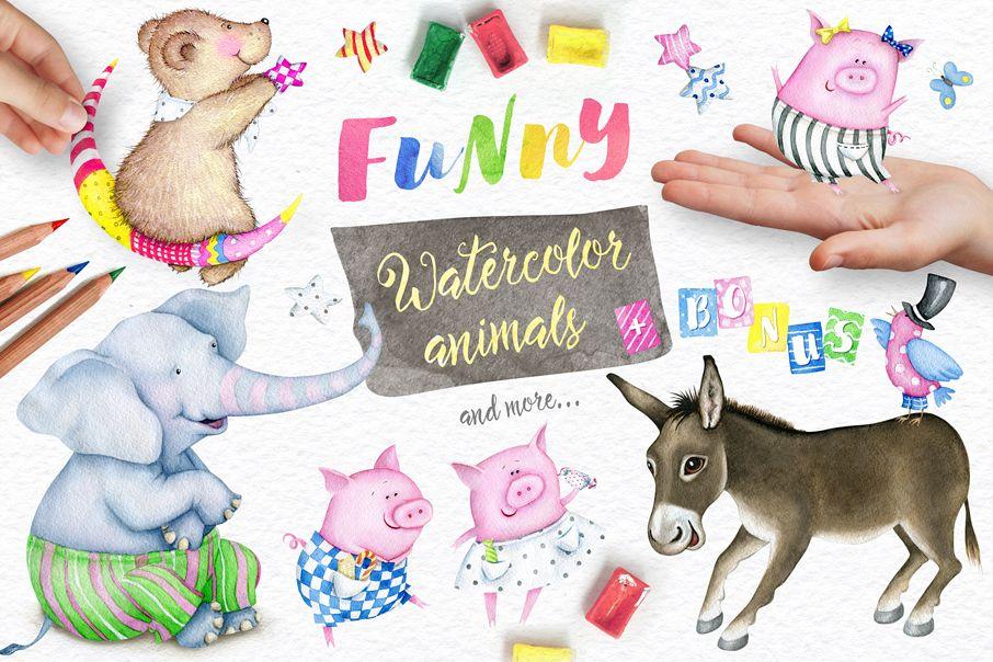 Watercolor Animals + BONUS example image 1