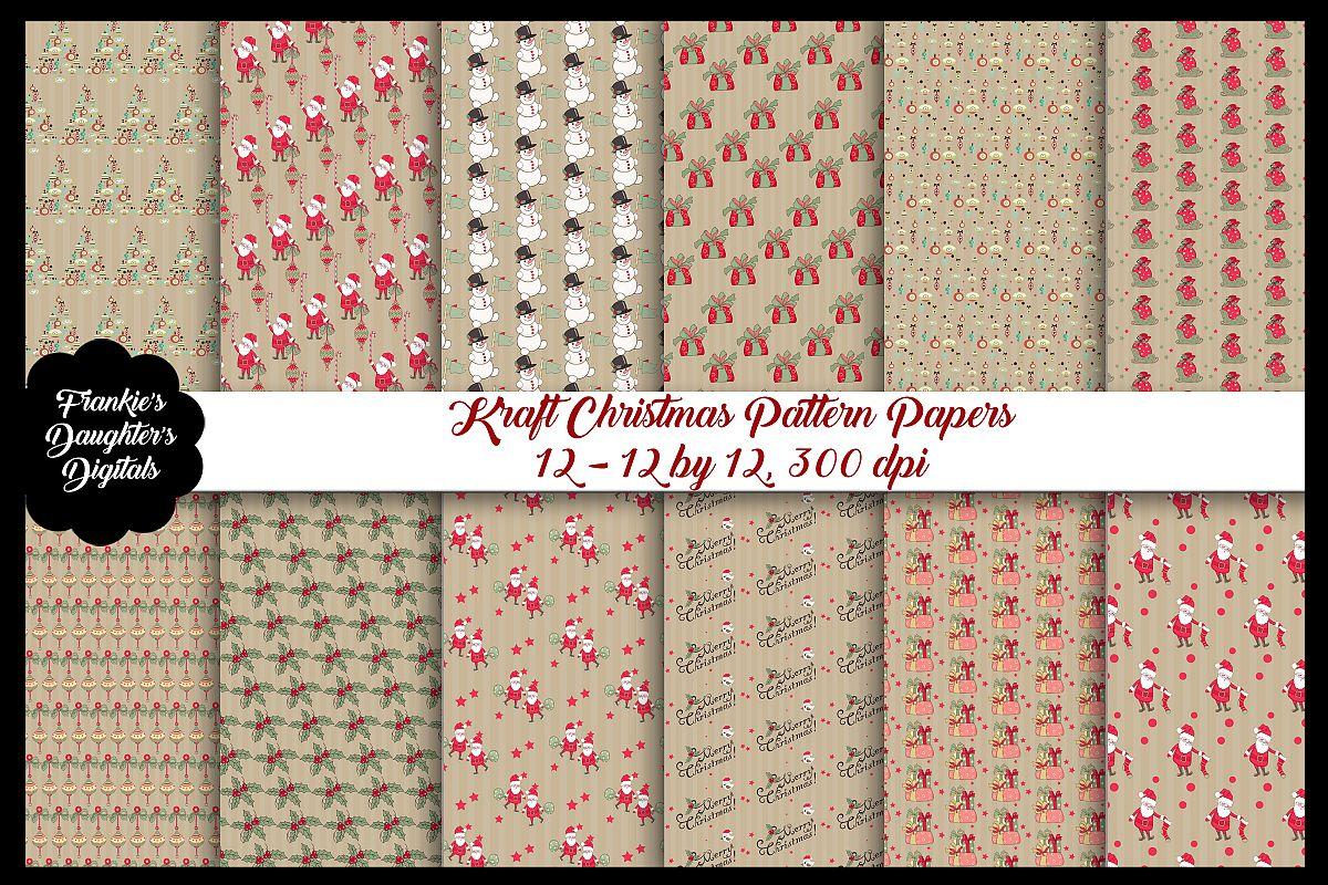 Kraft Christmas Patterns Digital Paper Pack example image 1