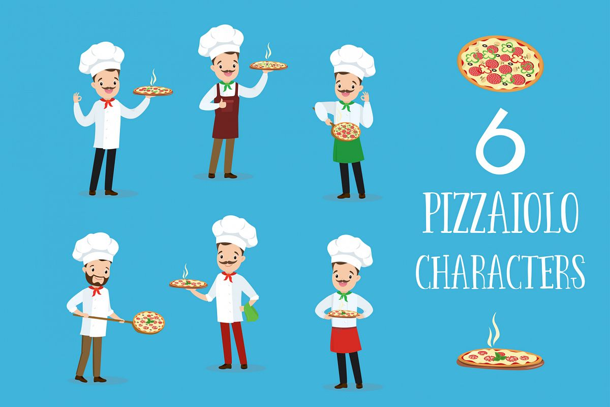 Pizzaiolo. Six cartoon characters example image 1