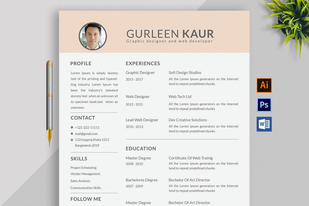 Professional Cv Resume Bonus business card Word/PSD,AI example image 1
