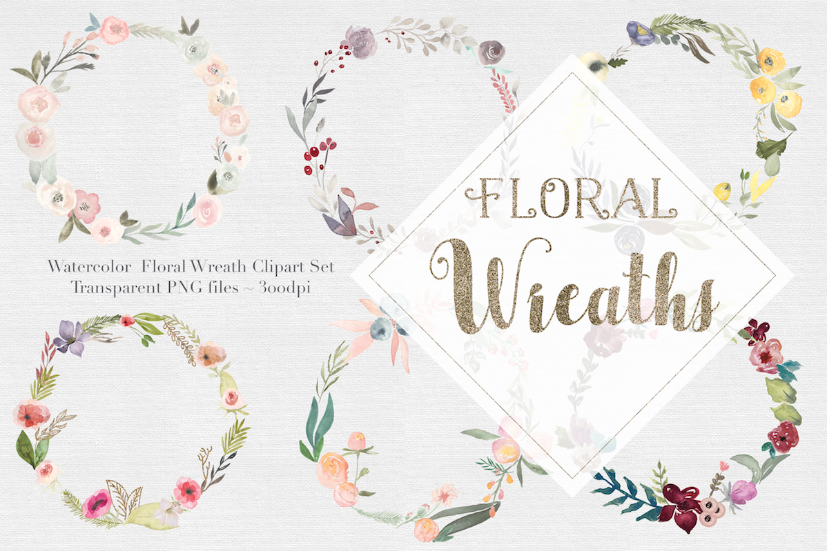 Watercolor Floral Wreaths Vol.1 example image 1