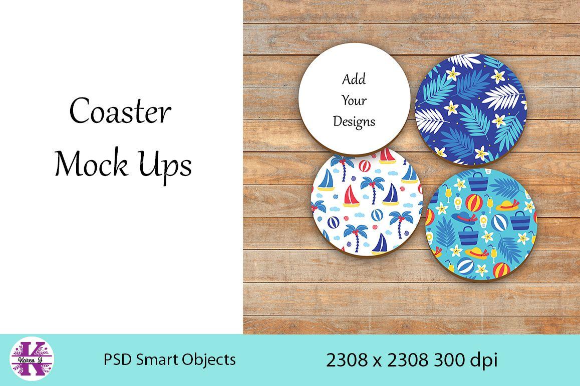4 Coaster Mock Ups example image 1