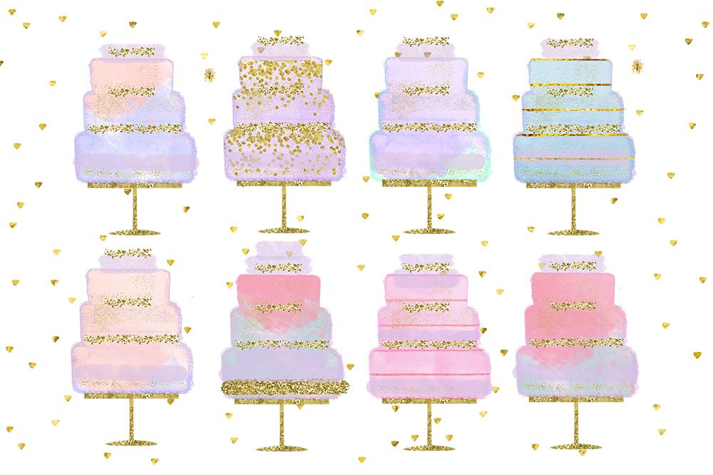 Wedding Clip Art, Hand Drawn bakery wedding cake clip art, Couture Cake, Hand Drawn Cake, Wedding cake party, pastel cake, wedding DIY example image 1