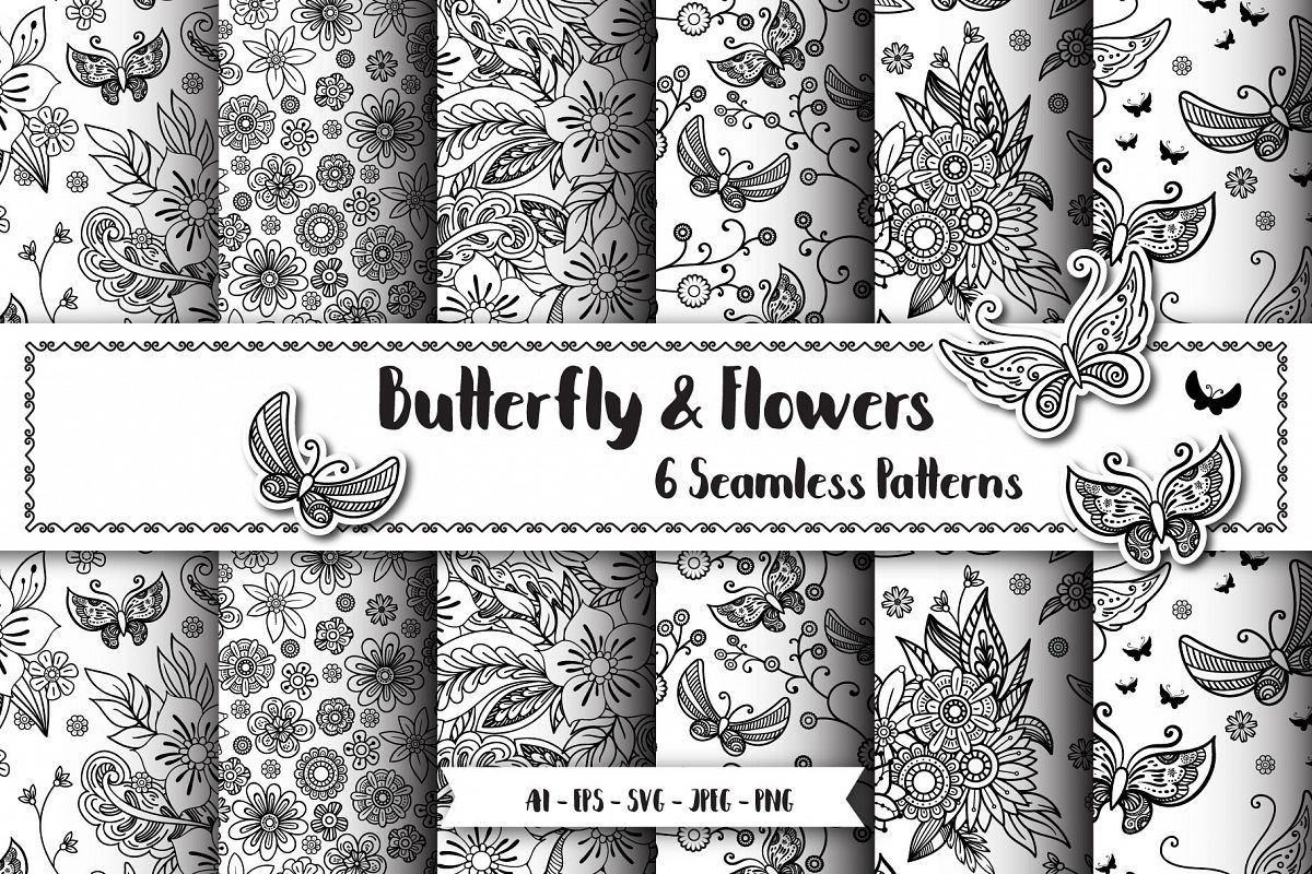 Butterfly Seamless Patterns example image 1